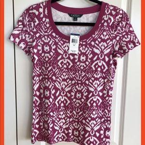 Ralph Lauren Pink and White Short Sleeve T-Shirt